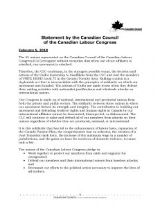 Statement by the Canadian Council of the Canadian Labour ...