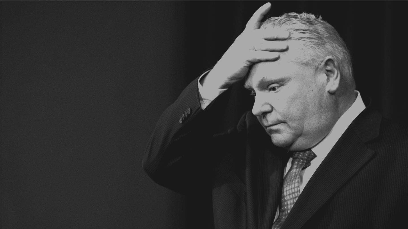 Premier Doug Ford with his hand on his forehead
