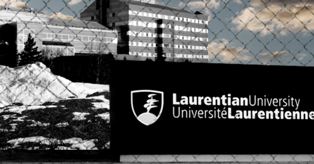 Laurentian University behind a chainlink fence