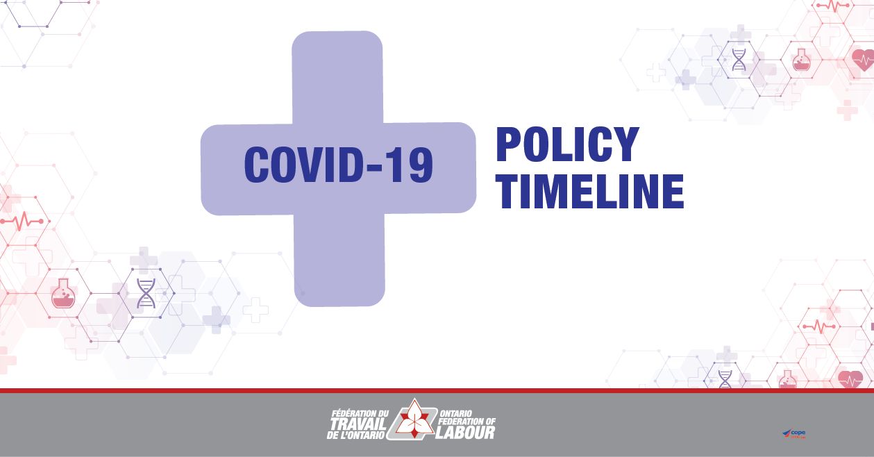 Covid 19 Policy Timeline The Ontario Federation Of Labour